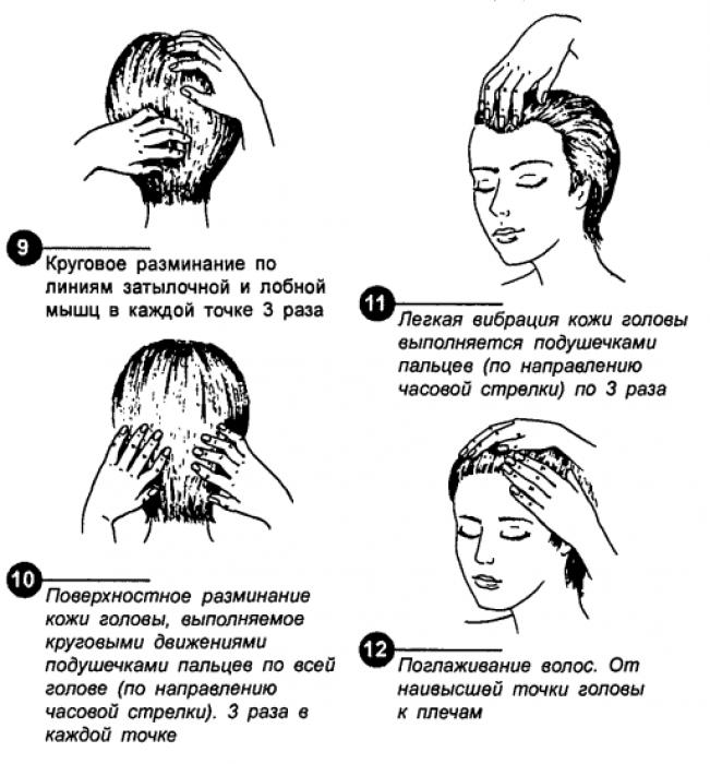 Массаж кожи головы кончиками пальцев