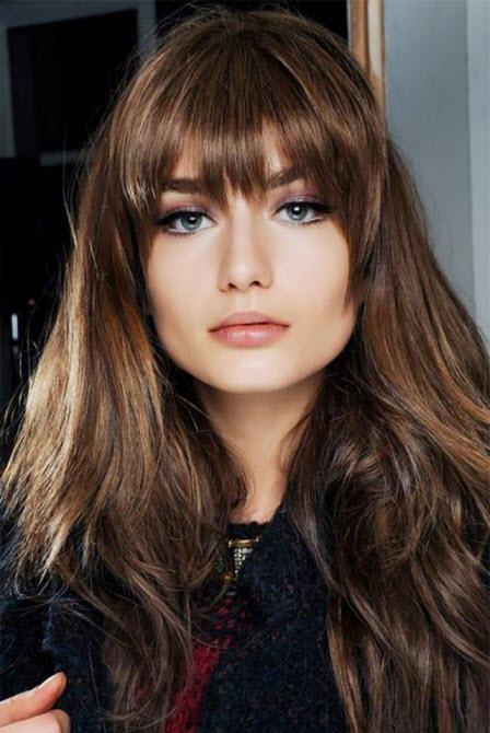 Фото: красивые волосы с челкой