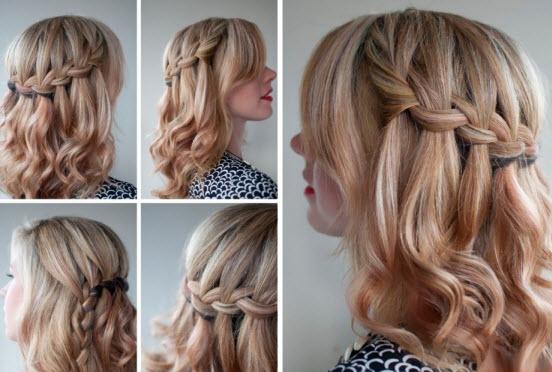 Причёски на средние волосы с косой фото