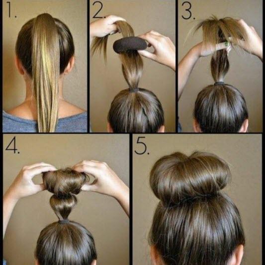 Как с помощью резинки сделать шишку на голове