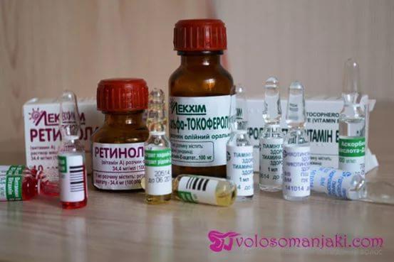 Маска на основе аптечных витаминов для роста волос