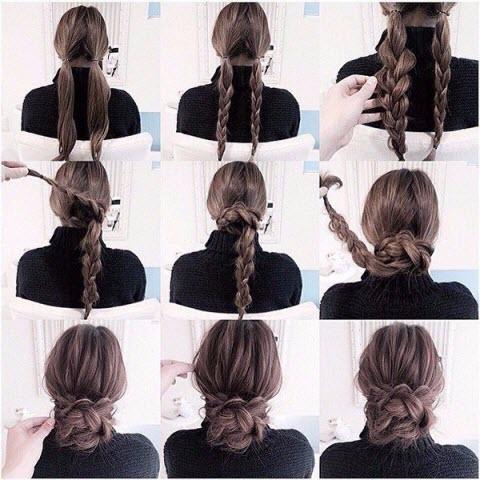 Прическа с плетением и косами