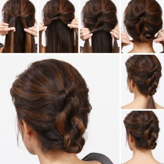 Прическа на каждый день на волосы средней длины