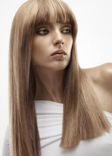 Стрижка на длинные волосы с челкой