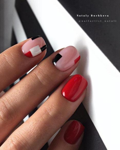 Красный маникюр в сочетании с другими цветами: фото