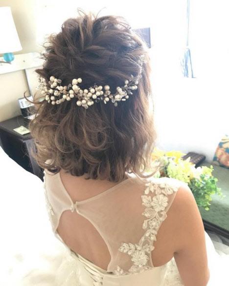 Свадебная прическа на короткие волосы 2019