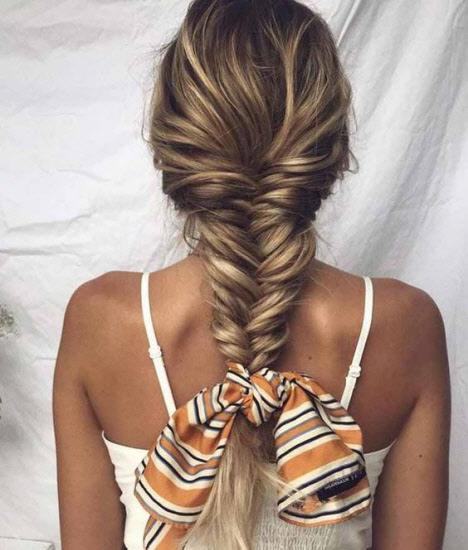 Плетение кос с платком