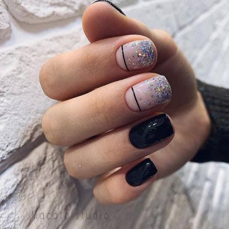 Дизайн геометрия на коротких ногтях 2019-2020
