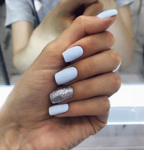 Голубой+серебряные блестки