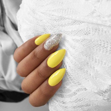 Желтый+серебряные блестки с камушками