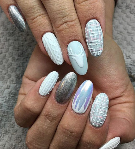 Стильные идеи вязаного маникюра на длинные ногти