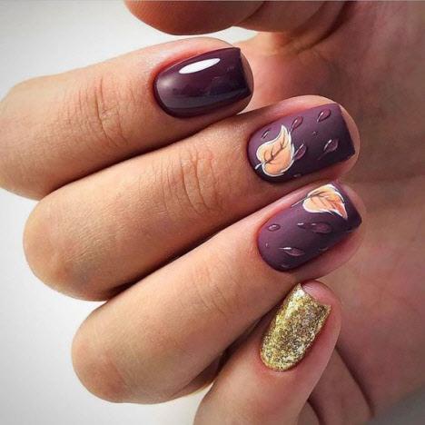 Интересный дизайн ногтей в темных тонах