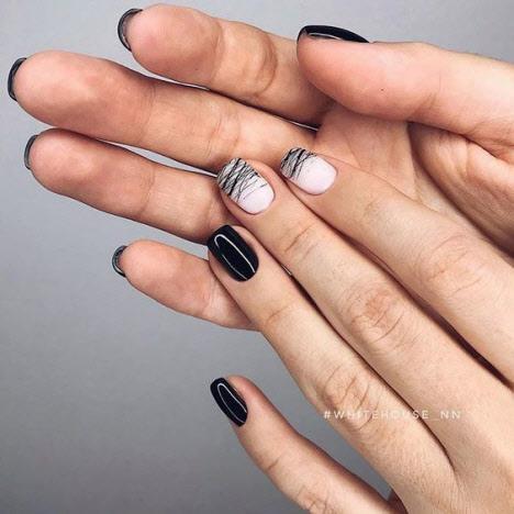 Модный темный маникюр на короткие и длинные ногти: фото 2020