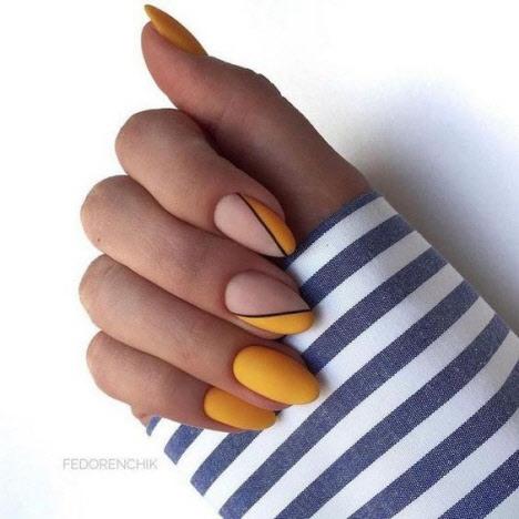 Маникюр геометрия на миндалевидную форму ногтей 2020