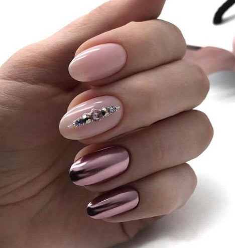Маникюр с втиркой на миндалевидную форму ногтей