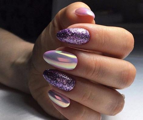 Модный маникюр с блестками на короткие и длинные ногти