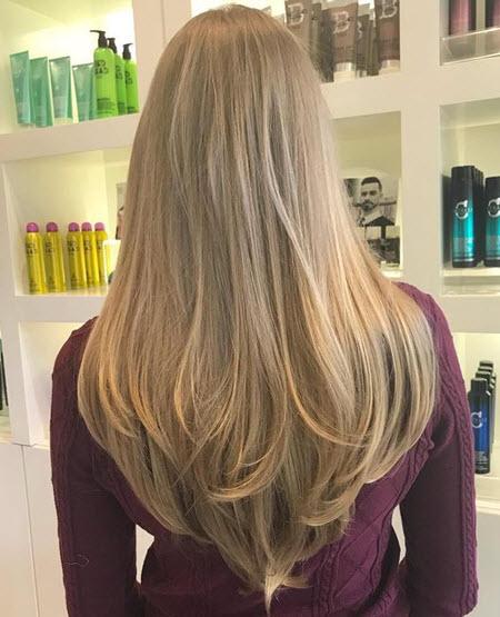 V-образная стрижка на длинные волосы