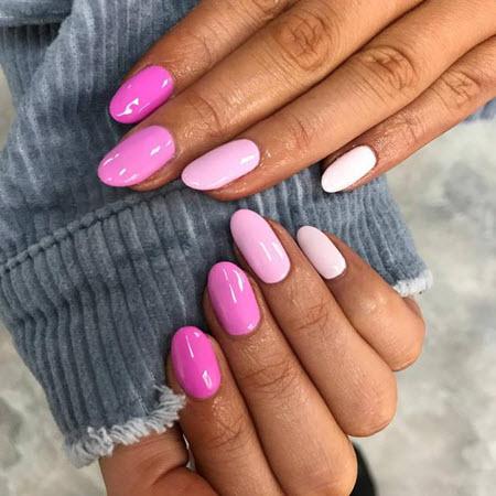 Фото розового маникюра на миндалевидные ногти 2020-2021