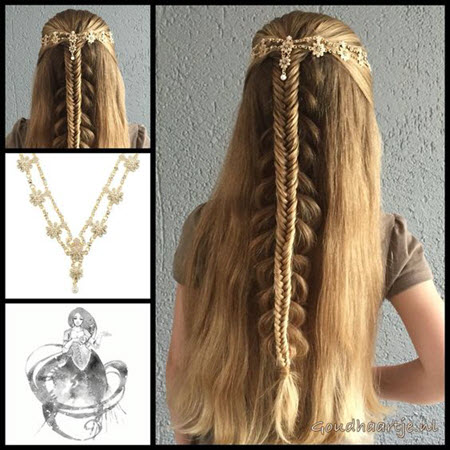 Красивое плетение для длинных волос на первое сентября