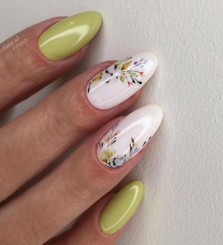 Осенний маникюр в зеленом цвете: фото 2021