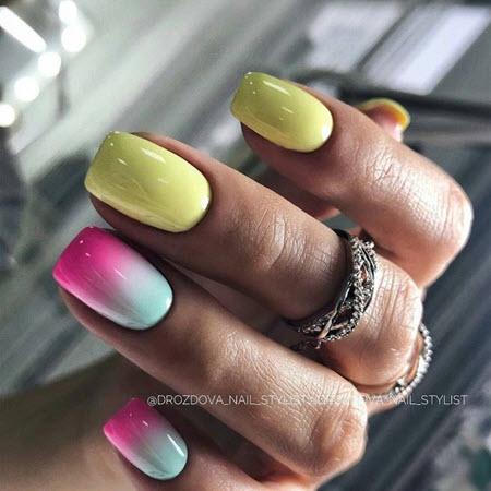 Фото красивого маникюра на квадратные ногти