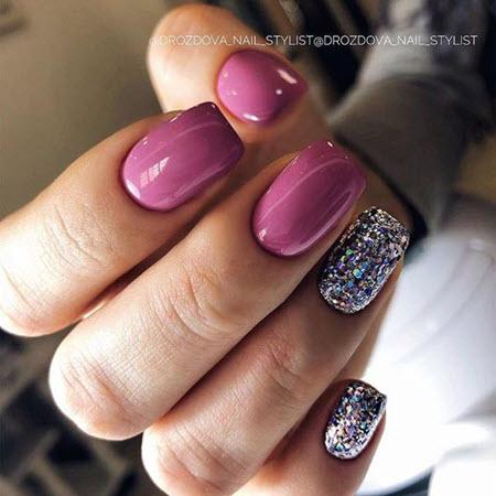 Маникюр с блестками на квадратные ногти