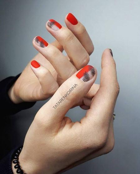 Маникюр негативное пространство на очень короткие ногти