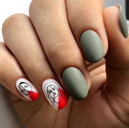 Рисунок на ногтях с красивыми силуэтами