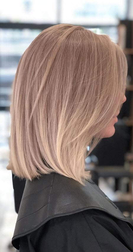 Длинное каре на средние волосы и модные техники окрашивания