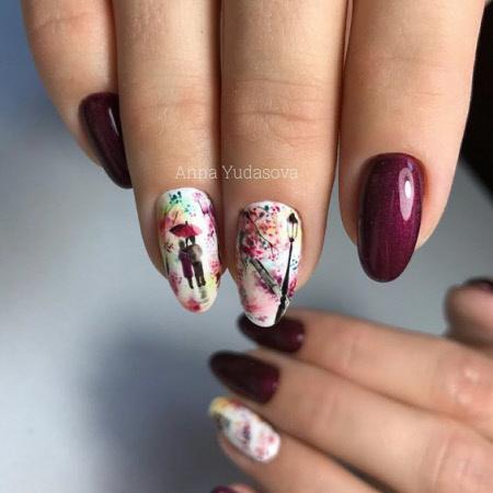 Тематические осенние рисунки на ногтях