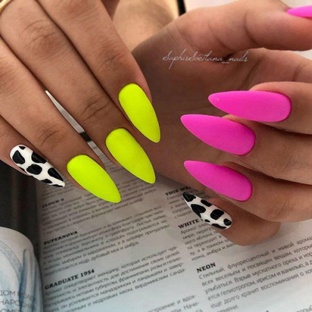 Фото разноцветного маникюра на длинные ногти