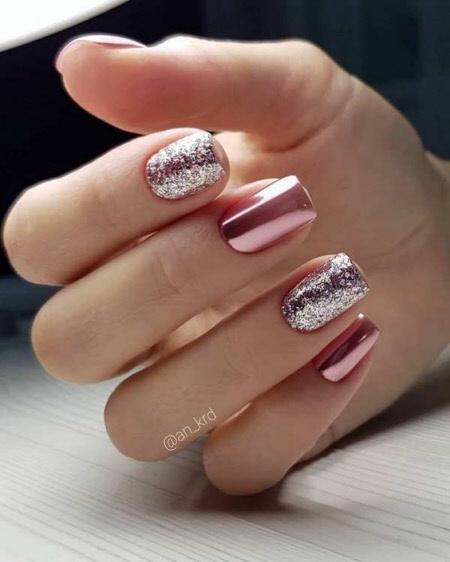 Эффектный дизайн ногтей с втиркой